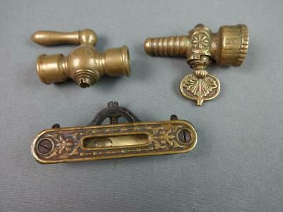 3 Vintage Antique Brass Hardware Pieces, Hose Nozzle Water Valve & Pocket Level