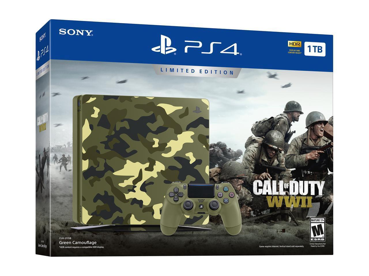 Playstation 4 - Sony PlayStation 4 Slim Call of Duty: WWII Limited Edition 1TB Green Camouflage