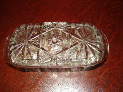 Vintage EAPG Butter Dish W/Lid Nice Design Heavy Clear Glass  Pattern No Chips