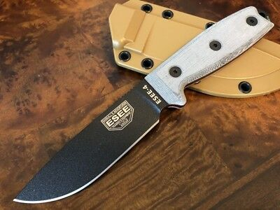 ESEE Knives 4 Black Blade Plain Edge Coyote Brown Sheath ESEE-4P