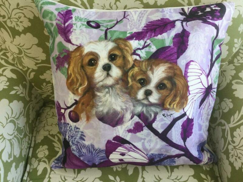 CAVALIER KING CHARLES  PUPPIES  HAND PAINTED PILLOW