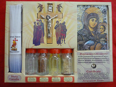 HOLY SET WITH BLESSED HOLY WATER,SOIL,OIL,INSENCE,CANDLES HOLY MARY & CRUCIFIX