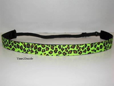 NEON GREEN LEOPARD Non slip Headband adjustable no slip Sweaty Sports Hair Bands](Neon Green Hair)