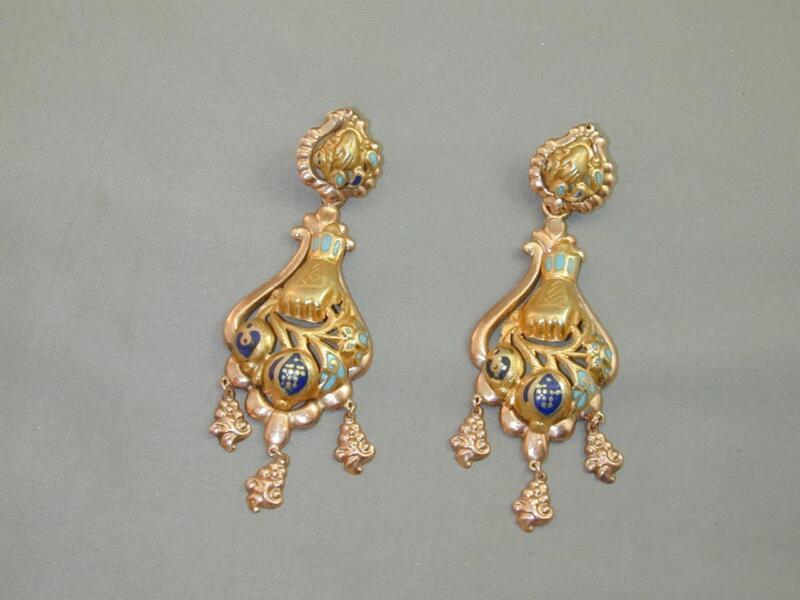 FAB Victorian Rose Yellow 10k 14k GF Enamel Figural Hands Dangle Earrings HUGE