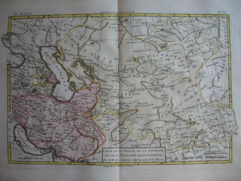 1780 - BONNE - Map  PERSIA  TARTARY  CENTRAL ASIA  TIBET