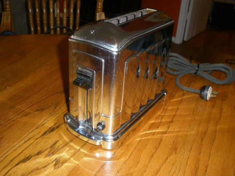 Vtg Chrome McGraw Elgin Toastmaster 1A4 Single Slice Toaster Works K-913092 NR