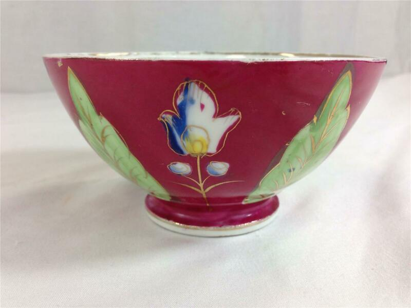 Antique Imperial Russian Porcelain Gardner Bowl Hand Painted Red Flowers #1