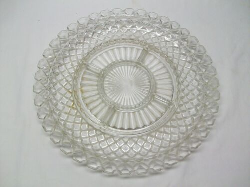 Anchor Hocking Depression Glass Waterford Crystal Waffle 5 Part Relish Dish-1944