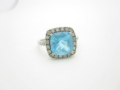10k White Gold Diamond Blue Topaz Ring Size 5 1/2