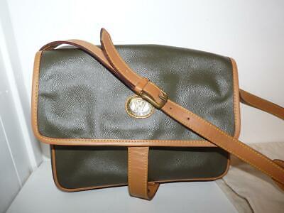 Victor Hugo Vintage Shoulder Bag Olive Green & Brown Leather & Dust Bag