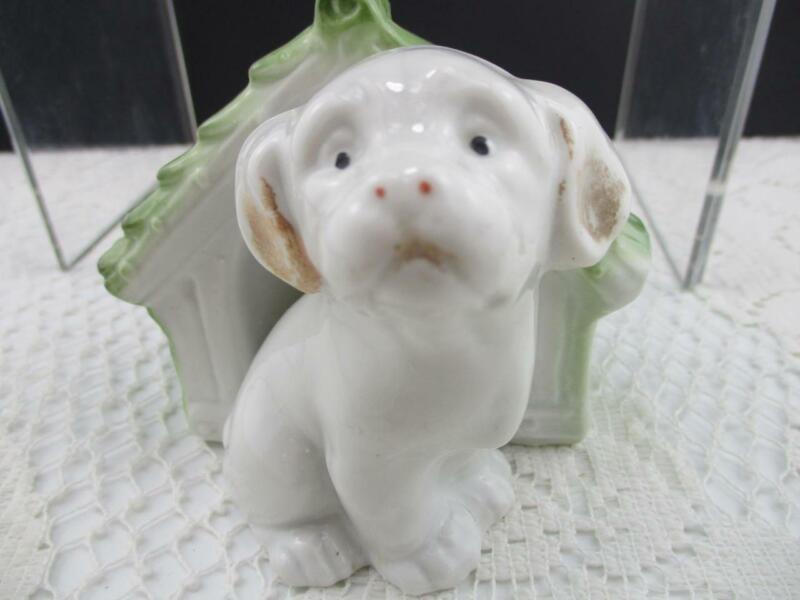 Vintage Puppy Dog w Doghouse Planter Trinket Holder~Czechoslovakia