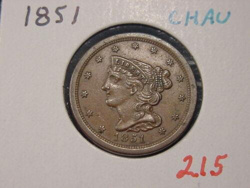 1851 BRAIDED HAIR HALF CENT CHOICE AU NICE
