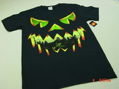 NWT Mens Black Halloween Themed T Shirt Mean Pumpkin Face scary jacko - Mean Halloween Pumpkin Face