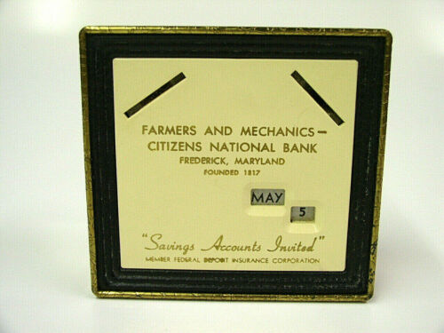 Farmers & Mechanics Citizens National Frederick Md Promotional Coin Bank, No Key
