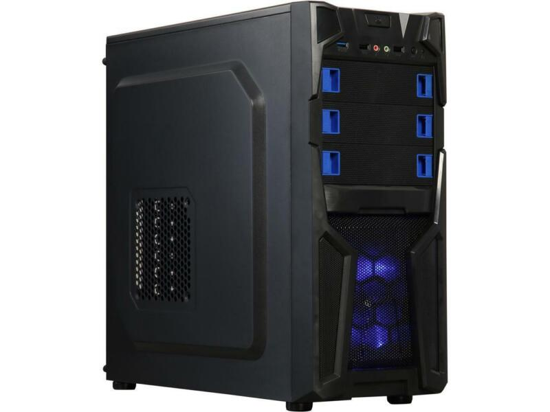 DIYPC Solo-T2-BK Black USB 3.0 ATX Mid Tower Gaming Computer Case with 2 x Blue