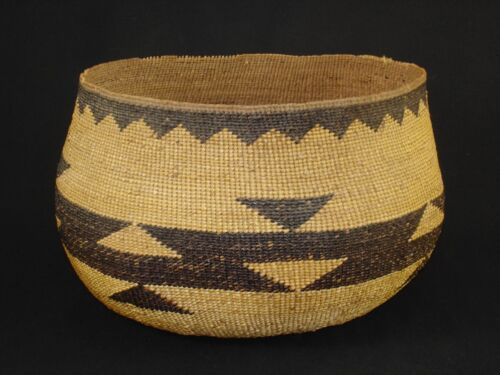 Very large Hupa basket, Native American Indian, circa: 1910