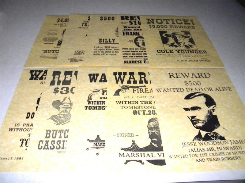 10 WILD WEST  WANTED POSTERS PRINTED ON 24 POUND PARCHMENT PAPER 1 DAY SHIPPING