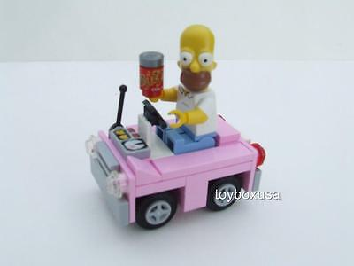 New Lego City Homer Simpson Minifig Minfigure w/ New Custom Pink Car