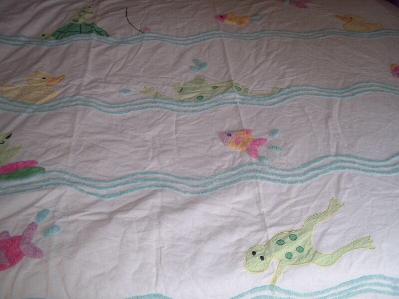 Vtg Chenille Muslim Novelty Ducks Kids Shower Curtain Or Baby Quilt? 34x70#PB