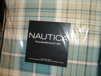 NAUTICA WESTMONT PLAID QUEEN FULL QUILTED COVERLET STANDARD   SHAMS 3PC