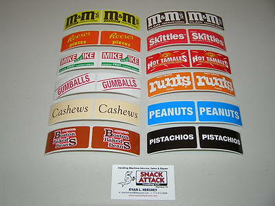 Vendstar 3000 Vending Machine 24 Rectangular Candy Label Stickers-free Ship