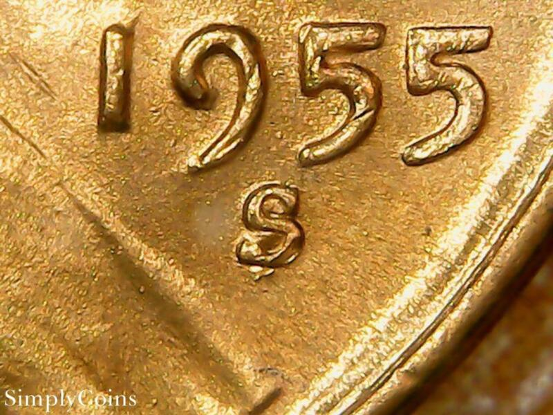 1955-S/S RPM Lincoln Wheat Penny Cent ~ GEM BU Uncirculated RED ~ US Coin MQ