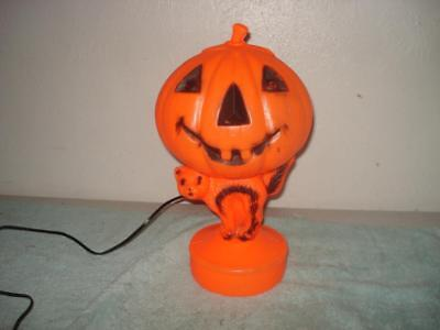 VINTAGE 1960s HALLOWEEN PUMPKIN CAT JACK-O-LANTERN LIGHTED BLINKING BLOW MOLD