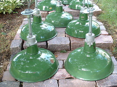 "(1)  VTG Appleton Industrial Green Barn 16"" Porcelain Light w/ PATINA Pendant +"