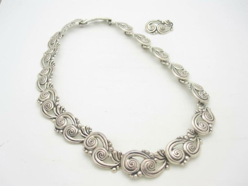 Vintage Designer Sterling Silver Mexico Swirl Link Necklace with Extra Link - A