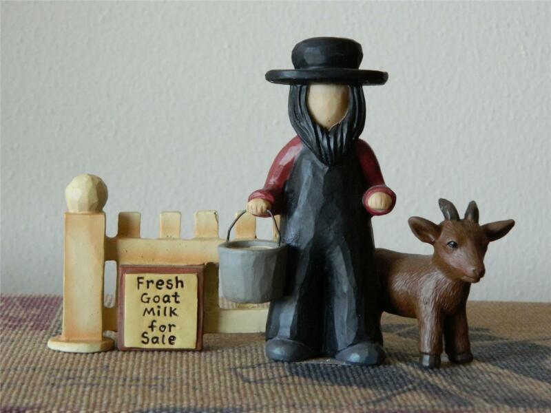 Blossom Bucket Amish Man Farmer Farming w Goat 2010 Primitive Folk Decor 83256