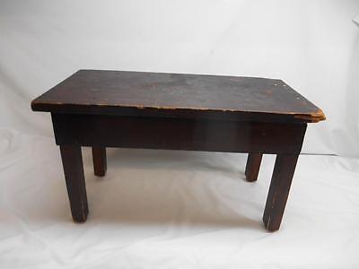 Antique Primitive Wood BENCH MILKING STOOL SEAT Furniture Old Vtg Stand Table ()
