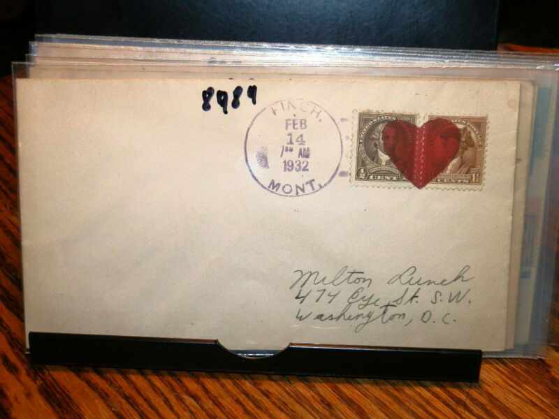 #8984,Finch MT 2/15/32,w Large Red Heart PM,Cover,Valentine Day