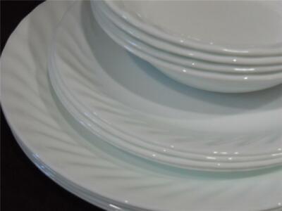 12-pc Corelle ENHANCEMENTS White DINNERWARE SET Dinner Lunch PLATES 18-oz BOWLS