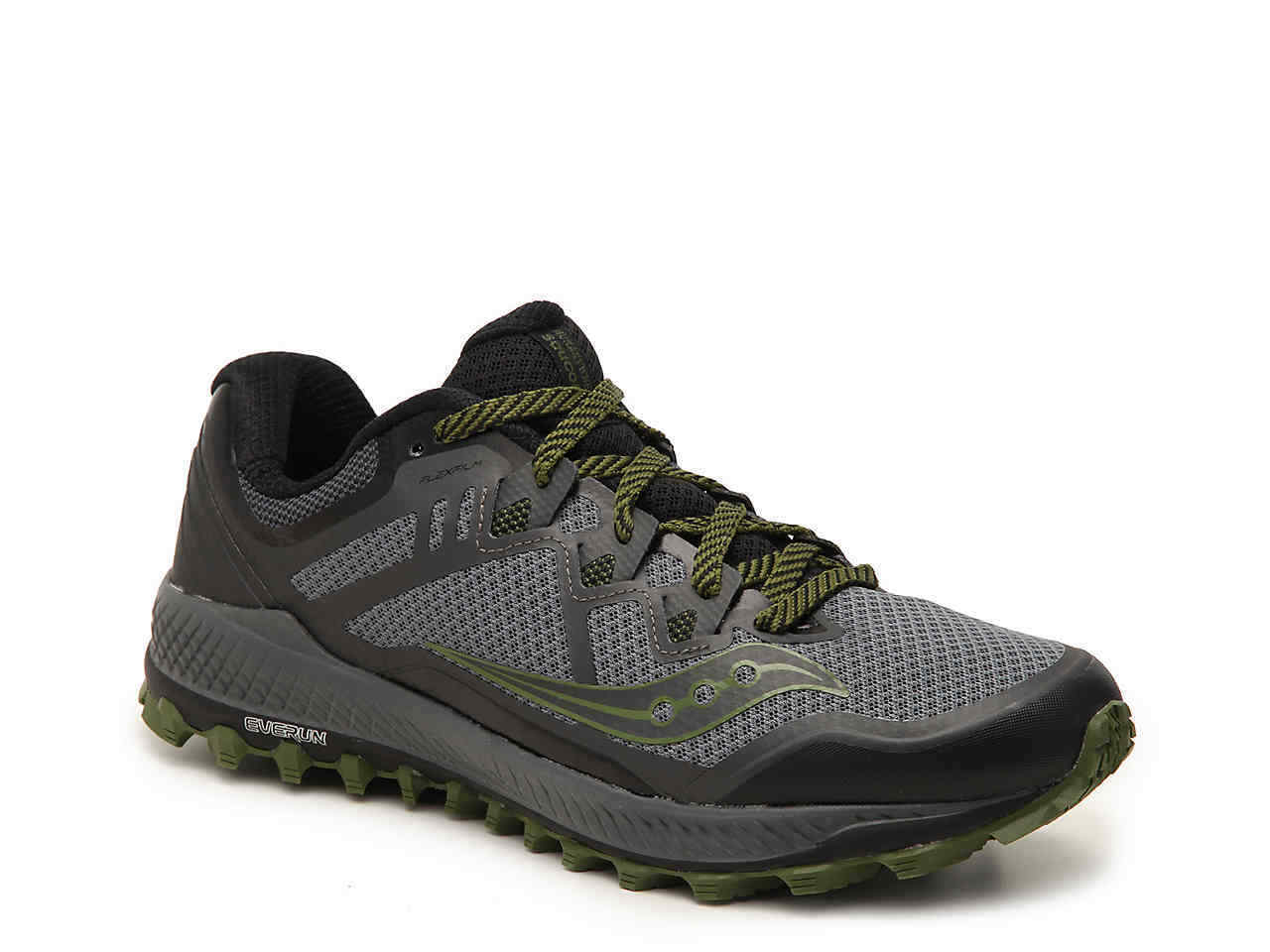 865486bb Saucony Peregrine 8 Men's Running Shoes Grey/Black/Green Size 12 M