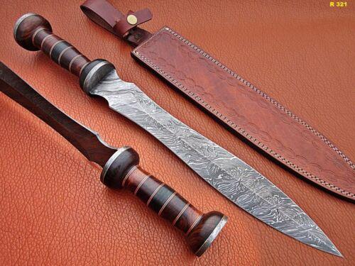 "ROMAN GLADIUS 24"" SWORD HANDMADE DAMASCUS HANDLE ROSE & PAKKA WOOD  S-16736"