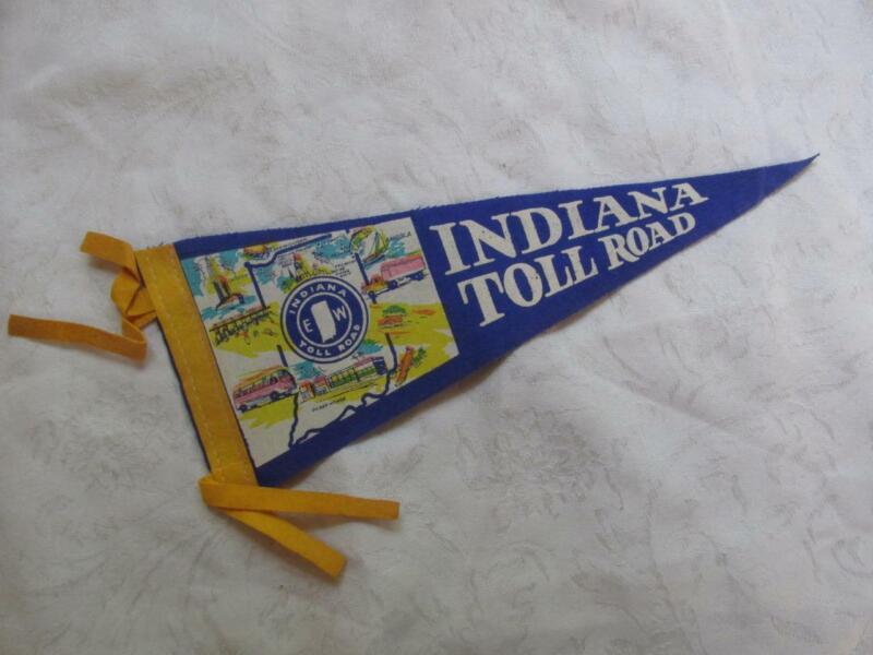 "Vintage Souvenir 12"" Blue Felt Pennant - Indiana Toll Road - EXC Cond"