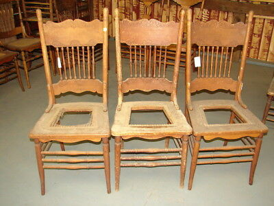 (3 Antique Pressed Back Chairs - Hole Cane - Old Finish - For Restoration  )