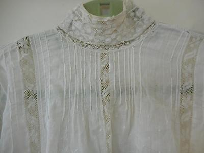 Vintage Edwardian Women's Top Lace & French Pleating Cotton Floral Embroidery