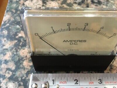 Weston Dc Amperes Panel Meter 0-5 Model 7531 Usa Made Nos