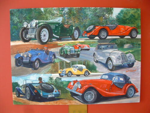 Morgan Sport Cars British ORIGINAL ART watercolor painting
