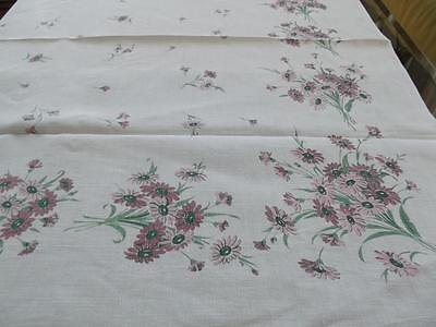 """Vintage Cottage Chic Pure Linen 50""""Sq Tablecloth Topper Print Pink Conelowers"""