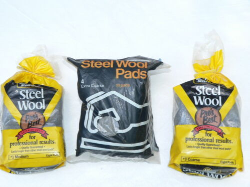 Steel Wool 26 Pads 3 Packages Made in USA #1-#3 & Extra Coarse NIP