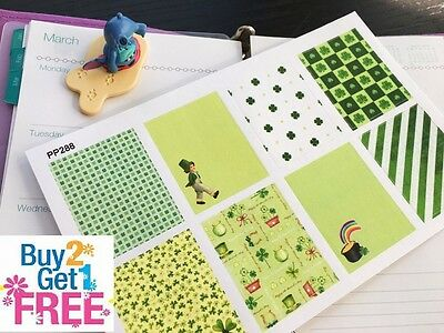 PP288-- St Patrick's Day Decoration Box Planner Stickers for Erin Condren (8pcs)