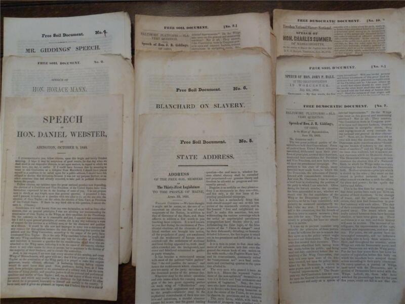 RARE ARCHIVE - FREE SOIL PARTY SPEECHES & HALE/JULIAN 1852 ANTI-SLAVERY PLATFORM