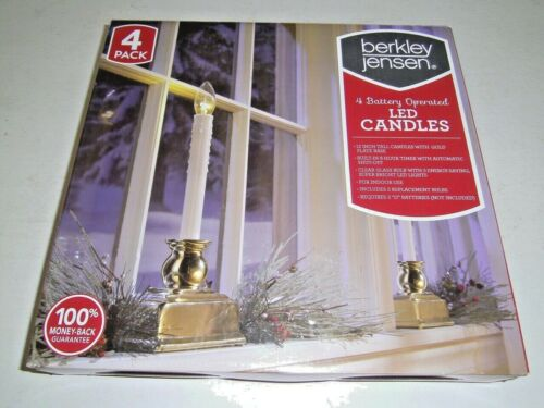 Berkley Jensen Set of 4 LED CANDLES Battery Operated Used Once original box