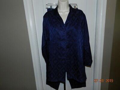 VTG Victoria's Secret Pajama Set SZ M Button Front 2 Piece satin flannel lining - Lined Satin Pajamas