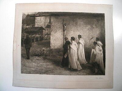 Prozession - Mönche - schöne große antike Radierung - Wilhelm Rohr ( 1848-1907 )