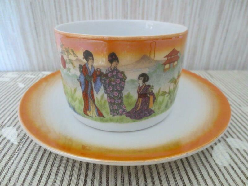 Rare Antique Zsolnay Pecs Cup and Saucer Hand Painted Lusterware