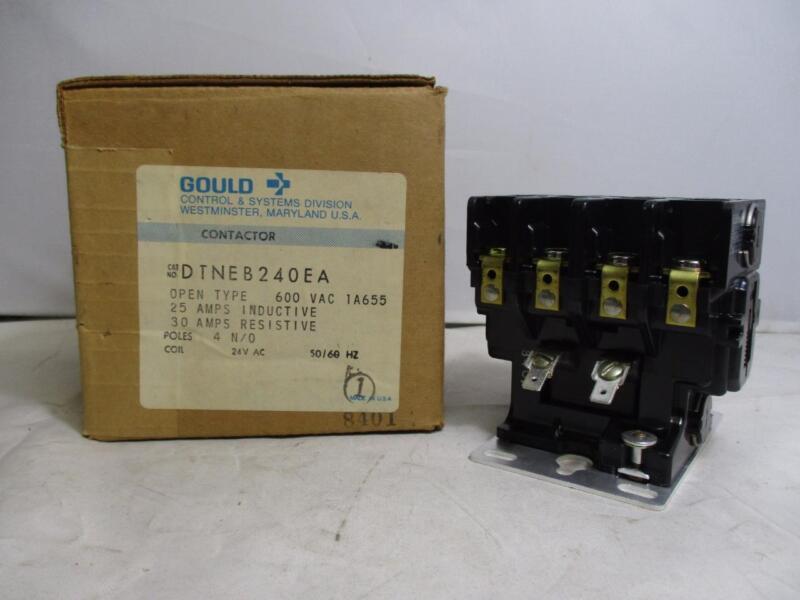 Gould 4P Contactor DTNEB240EA 600VAC 1A655 25A-IND. 30A-RES. 24V 50/60Hz