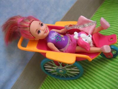 Barbie Kelly CHELSEA Doll Pink Hair JOGGING STROLLER MINI TOY POODLE PET DOG SET